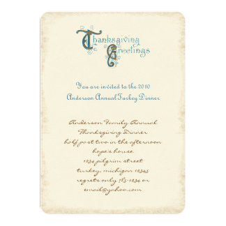 Invitations vintages de récolte de thanksgiving de carton d'invitation  12,7 cm x 17,78 cm