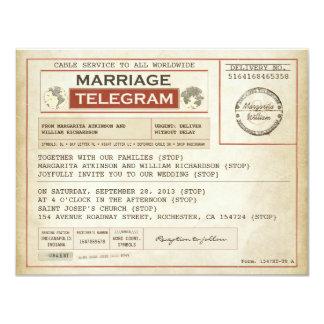 INVITATIONS vintages de télégrammes de MARIAGE Carton D'invitation 10,79 Cm X 13,97 Cm