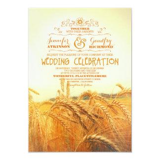 invitations vintages rustiques jaunes de mariage