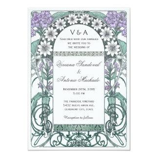 Invitations violettes vertes de mariage de jardin