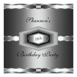 Invite 35th Birthday Party Silver Metal Black