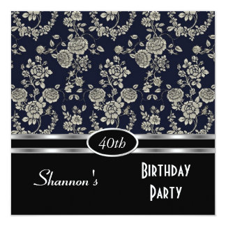 "Invite 40th Birthday Party Navy Black Floral Damas 5.25"" Square Invitation Card"