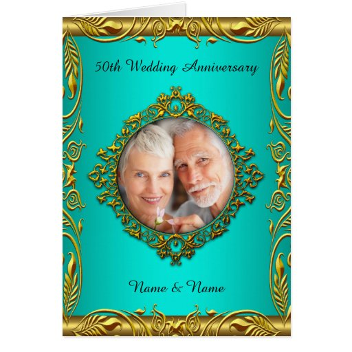 Invite 50th Anniversary Elegant Teal Blue Gold Greeting Card