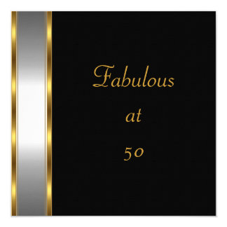 Invite Birthday Party Black Gold Fabulous 50th