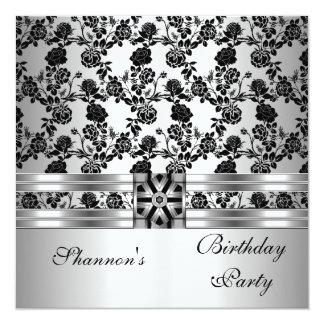 Invite Birthday Party Black White Floral Damask