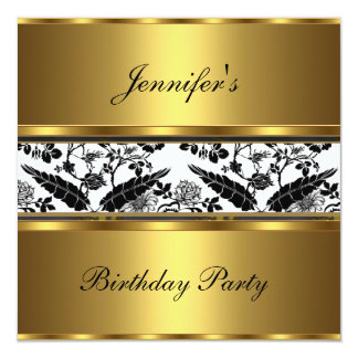 Invite Birthday Party Floral Gold Black White 3