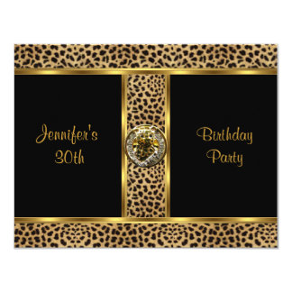 "Invite Birthday Party Gold Exotic Wild Leopard 4 4.25"" X 5.5"" Invitation Card"