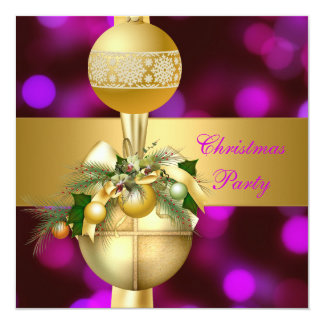 Invite Christmas Party Gold Balls Purple Pink