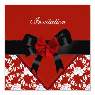 Invite Elegant Classy Red Black White Floral Bow