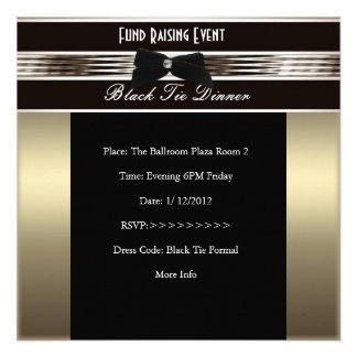 Invite Fundraiser Formal Black Tie Bronze Pewter Announcement