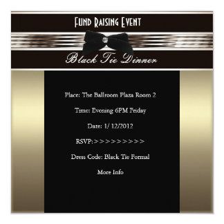 Invite Fundraiser Formal Black Tie Bronze Pewter