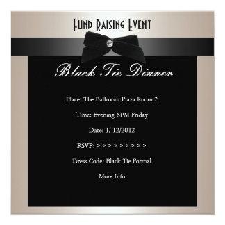Invite Fundraiser Formal Black Tie Champagne