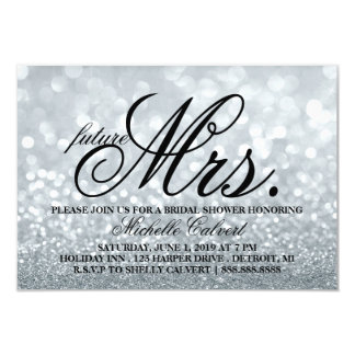 "Invite - Lit Glitter Bridal Shower future Mrs. 3.5"" X 5"" Invitation Card"