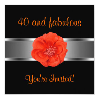 Invite Party Orange Flower Fabulous 40th