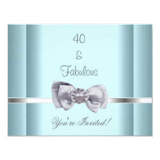 Invite Party Silver Bow Fabulous 40th Blue