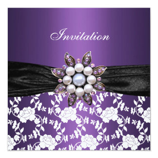 Invite Purple White Jewel Floral Elegant Classy 3