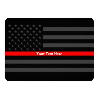 Invite Thin Red Line Personalized Black US Flag