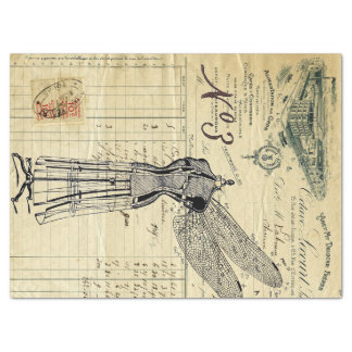 Invoice Ephemera Dragonfly Collage Tissue Paper