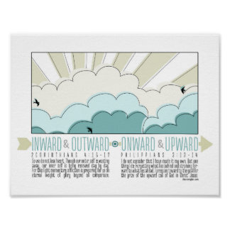 Inward, Outward, Onward, Upward Inspirational Post Poster