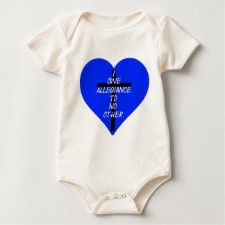 IOATNO Blue Heart And Cross Baby Bodysuit