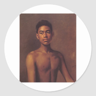 'Iokepa, Hawaiian Fisher Boy', oil on canvas Classic Round Sticker