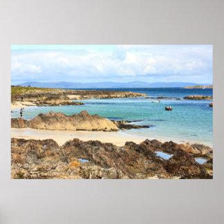 Iona, Scottish island, beautiful rocky seashore Poster