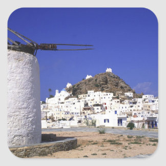 Ios, Greece. The beautful and crisp, white and Square Sticker