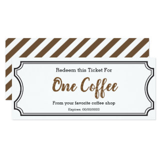 IOU Love Gift Ticket One Coffee editable Card
