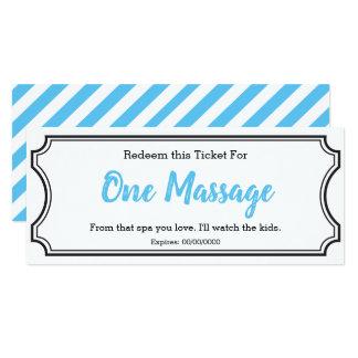 IOU Love Gift Ticket One Massage editable sky blue Card