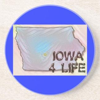 """Iowa 4 Life"" State Map Pride Design Beverage Coaster"