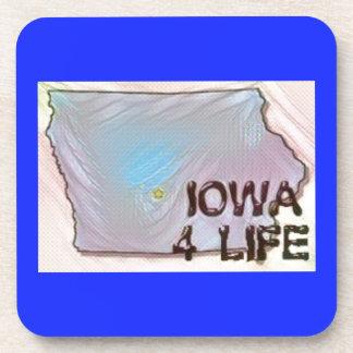 """Iowa 4 Life"" State Map Pride Design Coasters"