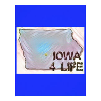 """Iowa 4 Life"" State Map Pride Design Customized Letterhead"