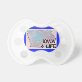 """Iowa 4 Life"" State Map Pride Design Pacifier"