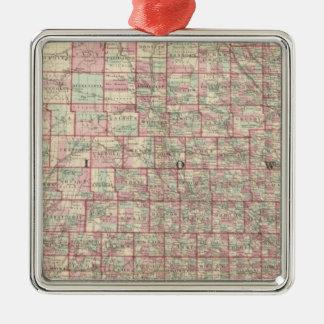 Iowa and Nebraska Silver-Colored Square Ornament