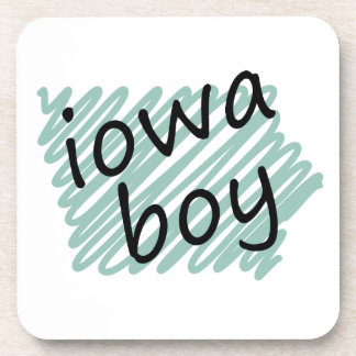 Iowa Boy on Child's Iowa Map Drawing Beverage Coaster