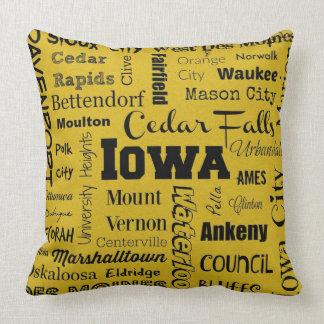 Iowa cities typography pillow in yellow/black