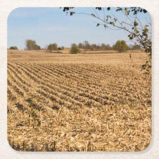 Iowa Cornfield Panorama Photo Square Paper Coaster