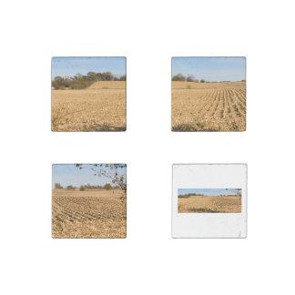 Iowa Cornfield Panorama Photo Stone Magnets