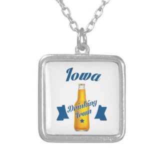 Iowa Drinking team Silver Plated Necklace