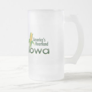 IOWA FROSTED GLASS BEER MUG