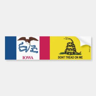 Iowa & Gadsden Flag Bumper Sticker