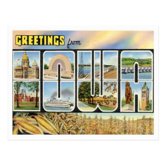 Iowa Greetings From US States Postcard