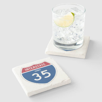 Iowa IA I-35 Interstate Highway Shield - Stone Coaster