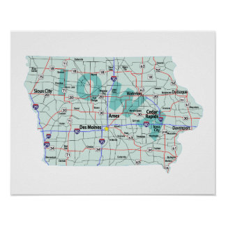 Iowa Interstate Map Print