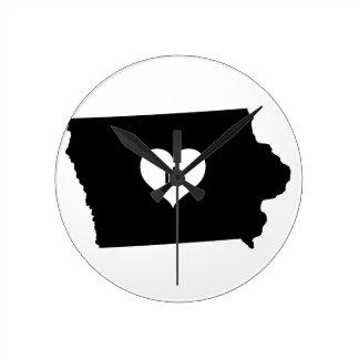 Iowa Love Round Clock