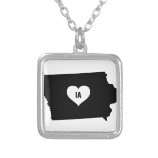 Iowa Love Silver Plated Necklace