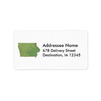 Iowa Map Address Label