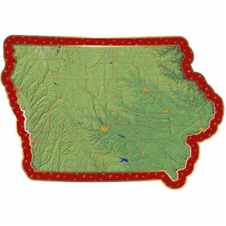 Iowa Map Christmas Ornament Cut Out