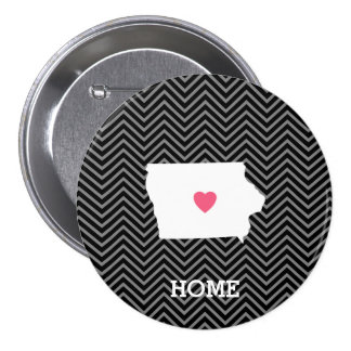 Iowa Map Home State Love with Custom Heart 3 Inch Round Button