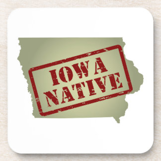 Iowa Native Stamped on Map Beverage Coasters